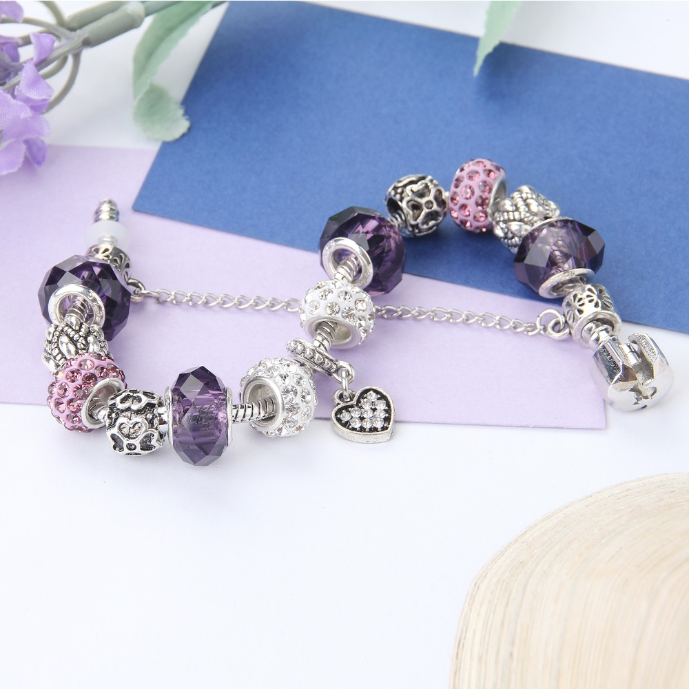 Dropshipping white heart Pendant Bracelets & bangles fashion crystal Bracelets with charm DIY jewelry bracelet for women gift 3