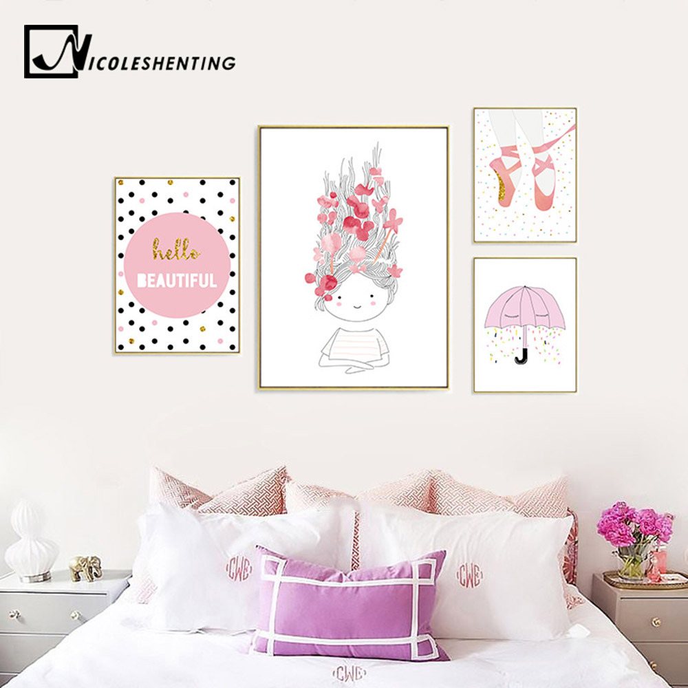 Delicieux Detail Feedback Questions About Nursery Wall Art Canvas Poster Minimalist  Polka Dot Print Pink Cartoon Painting Decoration Picture Nordic Baby Girls  Room ...