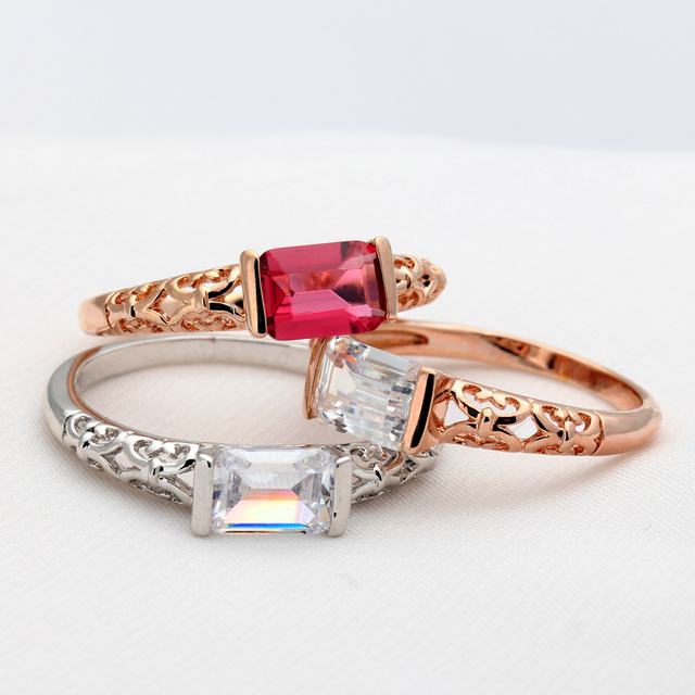 CC Trendy Vintage Jewelry Charms Rings For Women 3 Colors Red Stone Romantic Bridal Wedding Engagement Ring Bijouterie CC1085