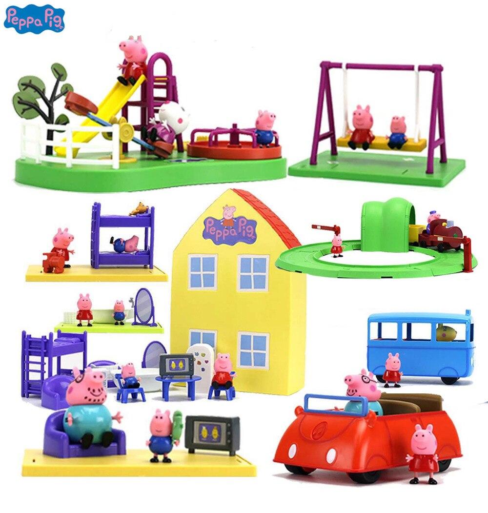 Casa De Luxo genuíno do Peppa Pig Peppa AÇÃO PLAYSET FIGURA PLAY SET playhouse Toy Kids PRESENTE Oficial... caixa original