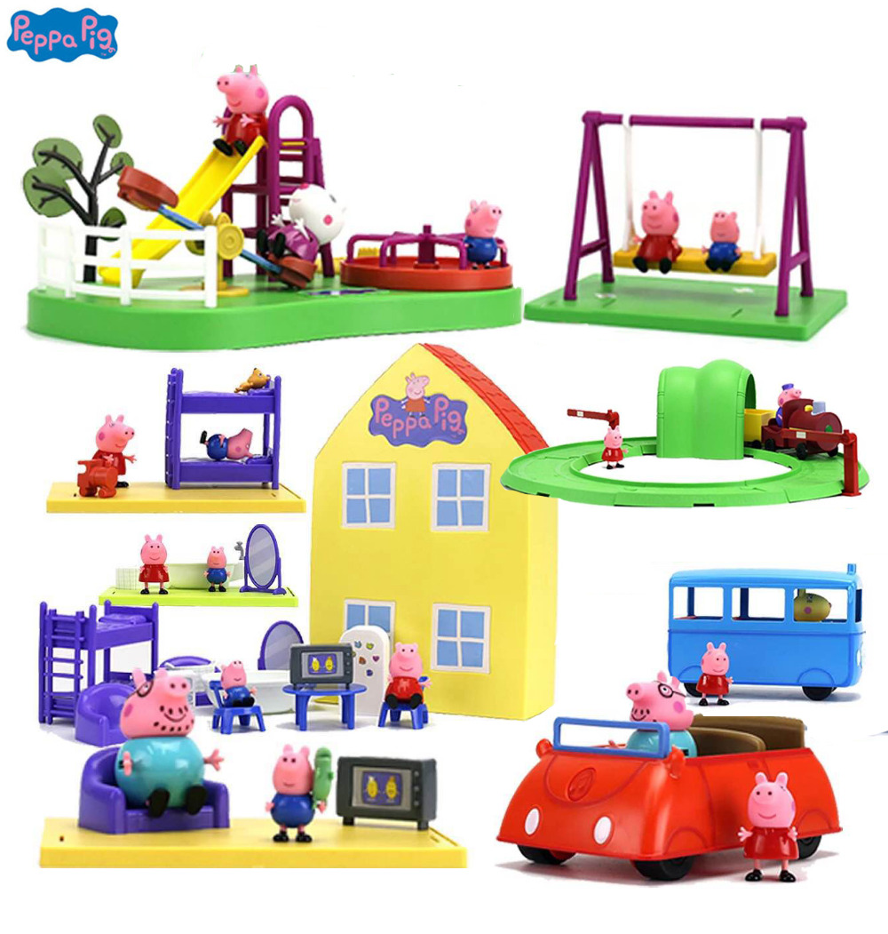 Casa De Luxo genuíno do Peppa Pig Peppa AÇÃO PLAYSET FIGURA PLAY SET playhouse Toy Kids PRESENTE Oficial... caixa original