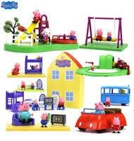 Genuine peppa pig peppa casa de luxo ação playset figura jogo conjunto playhouse crianças brinquedo presente oficial -- caixa original