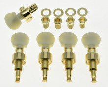 KAISH Gold w/ Ivory Buttons 5 String Banjo Geared Tuners Tuning Pegs Machine Heads