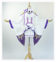 In Stock Re: Life in a different world from zero Emilia Cosplay Costume Dress+Skirt+Apron+Headdress+Stockings+Elf Ears