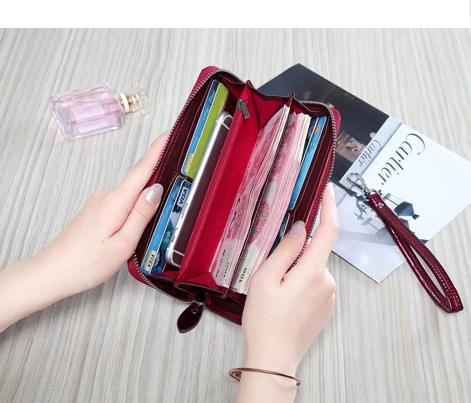 VICKAWEB Wristlet Wallet Purse Genuine Leather Wallet Female Long Zipper Women Wallets Card Holder Clutch Ladies Wallets AE38-012