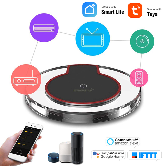 Wifi ir controle remoto hub 2.4g, wi fi infravermelho universal controle remoto para ar condicionado tv dvd usando tuya vida inteligente, vida inteligente