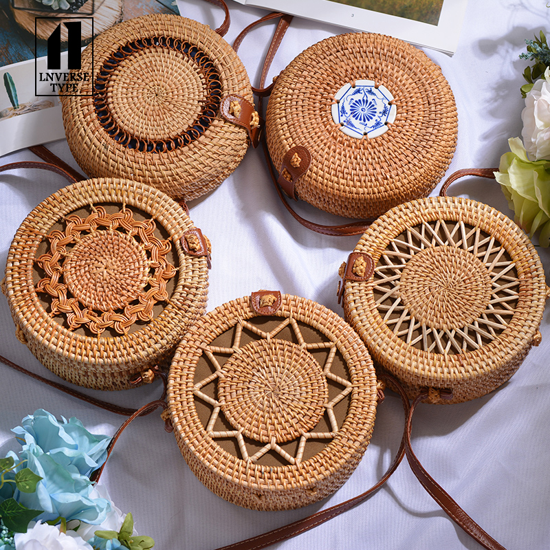Handmade Woven Beach Circle Bohemia Handbag Round Mulit Style Vintage Handmade Rattan Woven Shoulder Bag Women Summer Rattan Bag(China)
