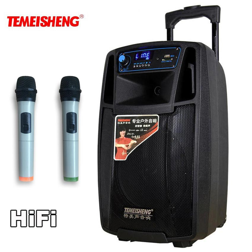 TEMEISHENG High Power Portable Loudspeaker Bluetooth Speaker Support Wirelss Microphone Outdoor audio speaker MP3 Music Player vibes high fidelity ear plugs