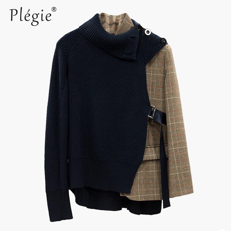 Kadın Giyim'ten Basic Ceketler'de Plegie Patchwork Örgü Ekose Ceket Kadın Uzun Kollu Dantel Düzensiz kadın ceketi Kore Moda 2018 Sonbahar Dış Giyim'da  Grup 1