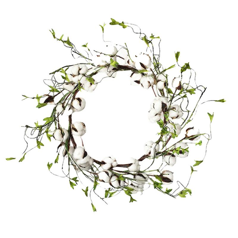 Christmas Decorating Props Cotton Farmhouse Decor Simulated Dry Cotton Green Leaf Wreath Lintel Wreath image