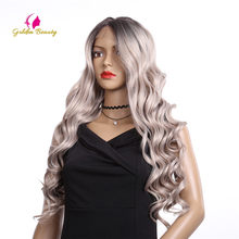 Golden Beauty 24inch Long Loose Wave Wig Synthetic Hair Lace Front Wigs Middle Part Ombre Grey Wig for Women(China)