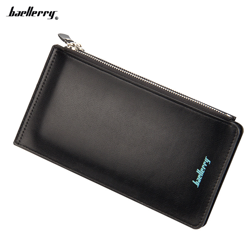 New Card Wallet Men Leather Double Zippers Credit Holder Mens Wallets Man Brand Baellerry Long Phone Purse Money Bag walet