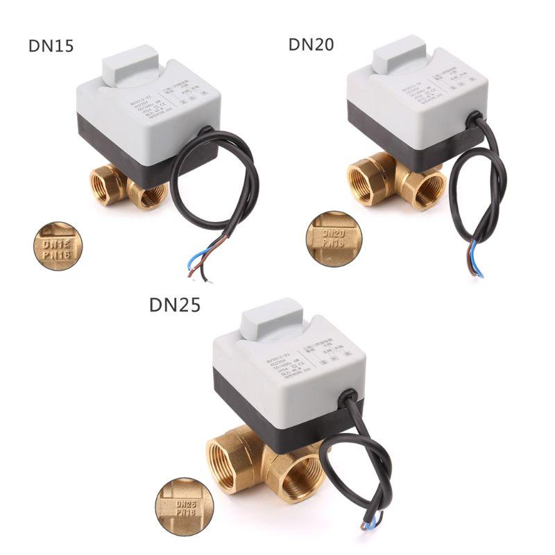 Image 2 - AC220V 3 way elektryczny napędzany zawór kulowy trzy drutu dwa sterowania do klimatyzacjiZawory   -