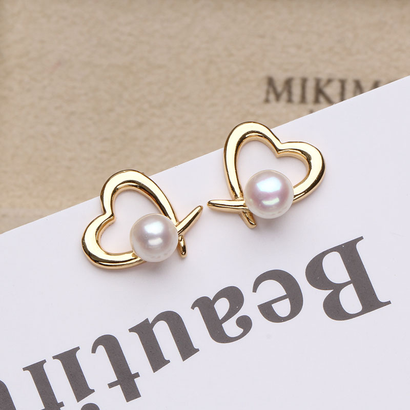 Sinya 18k gold <font><b>heart</b></font> design stud <font><b>earring</b></font> with natural high luster Round pearls Au750 <font><b>earring</b></font> for lover women girl best gift image