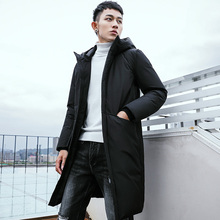 купить New Winter Jackets Men Casual Mid Long Thick Winter Coat Men Solid Hooded Parka Male Clothes Overcoat Outerwear plus size 3XL дешево