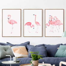 BIANCHE WALL Modern Simple Watercolor Flamingo Abstract A4 Art Print Poster Canvas Painting Picture Painting Home Wall Decor