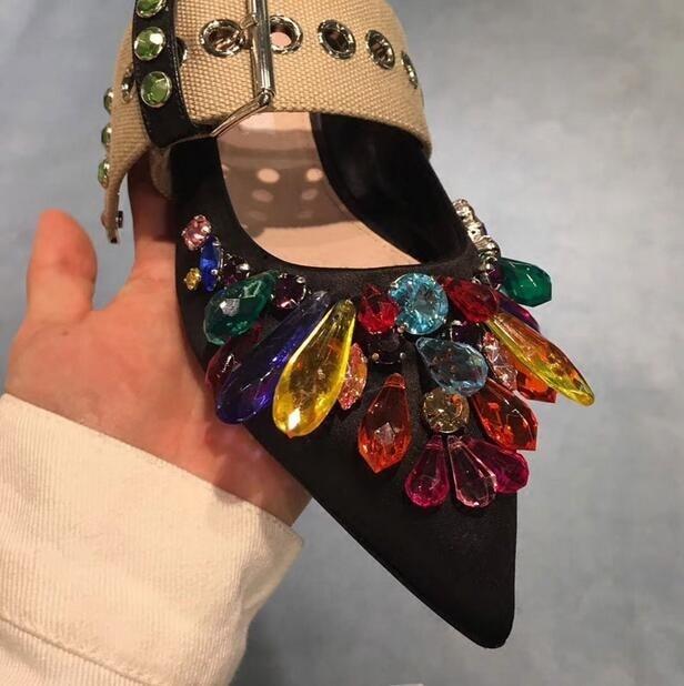 Pour Plat Casual Coloré Femmes Embelli Chaussures Ballet Bout Satin Diamant Sexy Noir Pointu Cristal Appartements As Boucle Picture Sangle wqIY7a