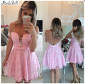 Cheap Pink Lace Short Cocktail Dresses 2016 Luxury Beaded Pearls Sheer Back Short Homecoming Dresses For Girls Prom Party Gowns
