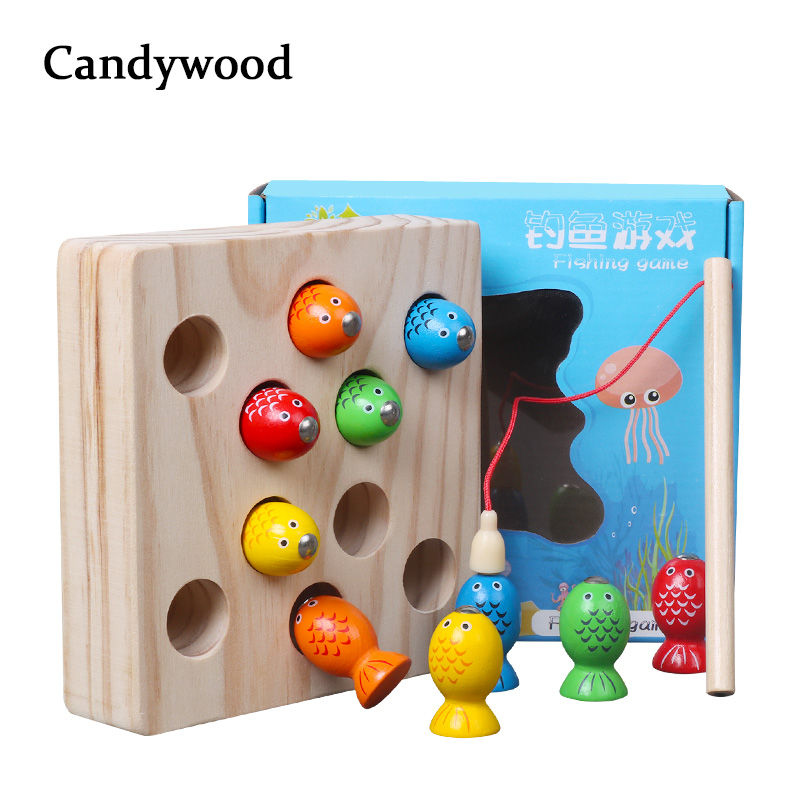 Candywood Children Wooden Toys Magnetic Games Fishing Toy Game Kids 3D Fish Baby Kids Educational Toys Outdoor Funny Boys Girl