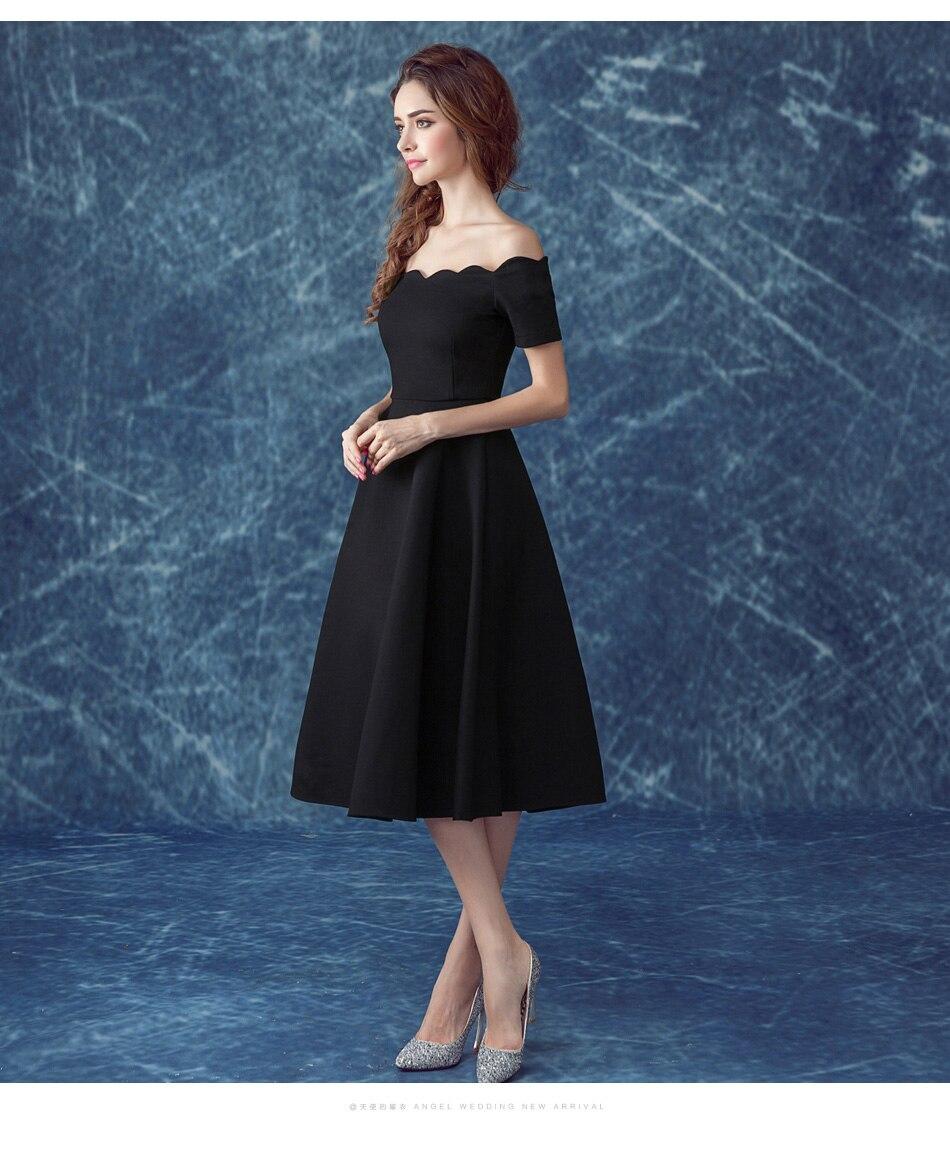 100% Real Images Elegant Little Black Dresses Evening Off the ...