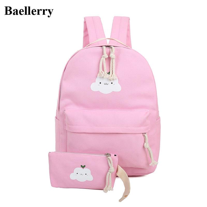 2Pcs/set Preppy Style Canvas Backpacks Women Cloud Printing Backpacks School Bags For Teenager Girls Schoolbag Female Travel Bag
