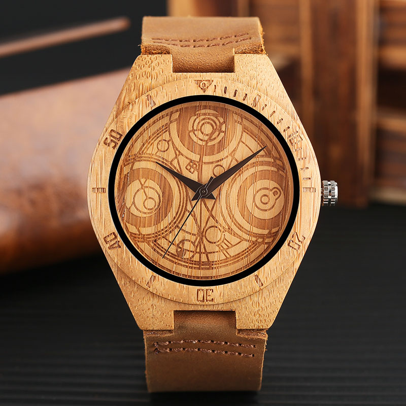 Natural Wood Watch DR.WHO Pattern Quartz Wood Watches Mens Brown Genuine Leather Handmade Bamboo Wooden Gift Clock classic style natural bamboo wood watches analog ladies womens quartz watch simple genuine leather relojes mujer marca de lujo