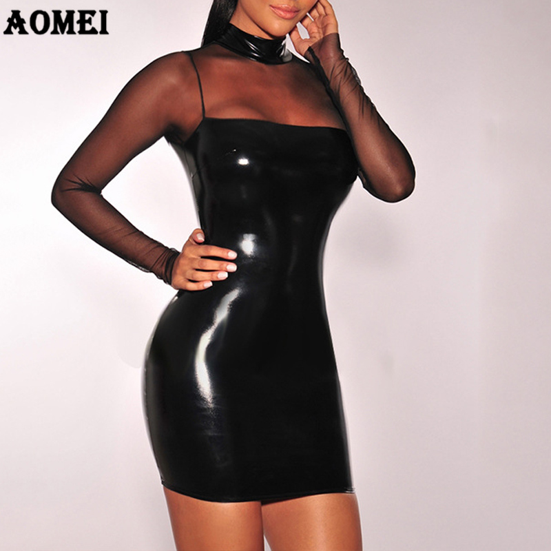 Tube <font><b>Dress</b></font> 2019 <font><b>Sexy</b></font> PVC Wet Look Leather <font><b>Dresses</b></font> Mesh Sleeve <font><b>Sexy</b></font> Transparent Women Black <font><b>Club</b></font> <font><b>Wear</b></font> Package Hip Bandage Clothes image