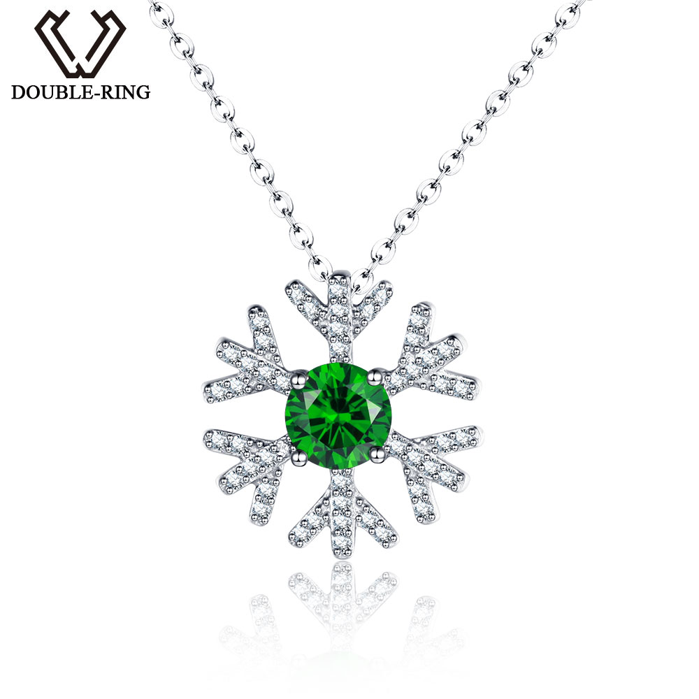 DOUBLE-R Classic snowflake Created Emerald Pendants Real Solid 925 Sterling Silver necklaces for women
