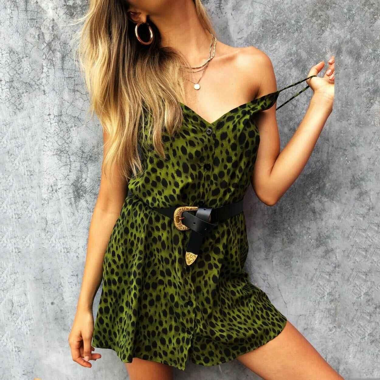 Moda feminina leopardo com decote em v sem mangas vestido com tiras verão fenda sexy curto mini vestidos praia