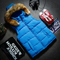 Men Winter Down Vest Fur Collar Men's Sleeveless Jacket Casual Coat Cotton  Brand Winter Outdoors Waistcoat HZ885