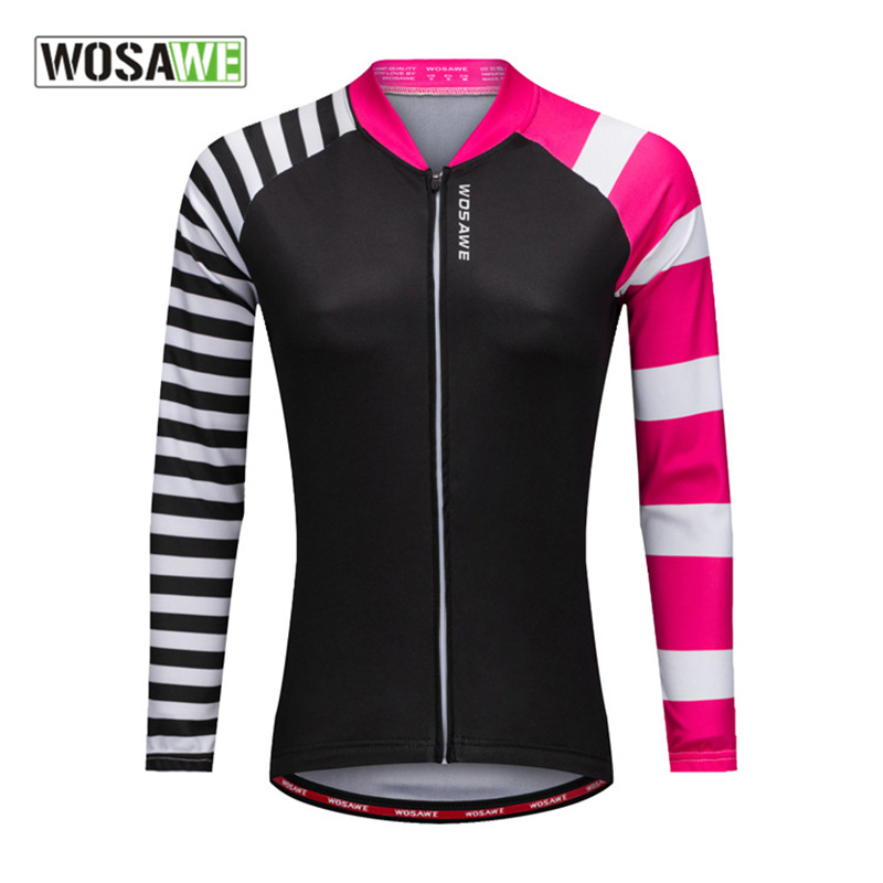 WOSAWE Spring Autumn New Women Cycling Jersey Outdoor Long Sleeve Sportswear Quick-dry Windproof Bicycle Riding Clothing