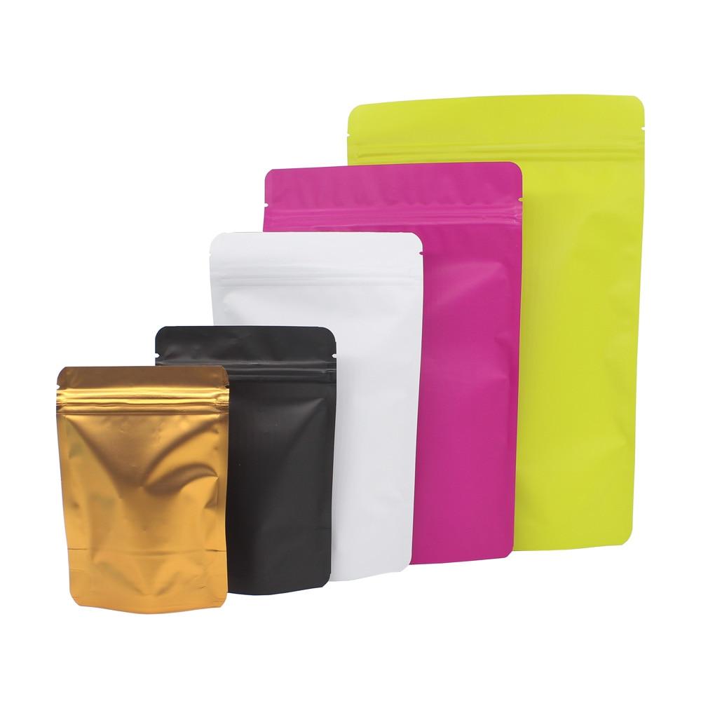 Various Sizes 50pcs Matte Green/ Blue/ Gold/ White/ Black Aluminum Foil Plastic Ziplock Packaging Bags Stand Up Zip Lock Pouches|Storage Bags|   - AliExpress