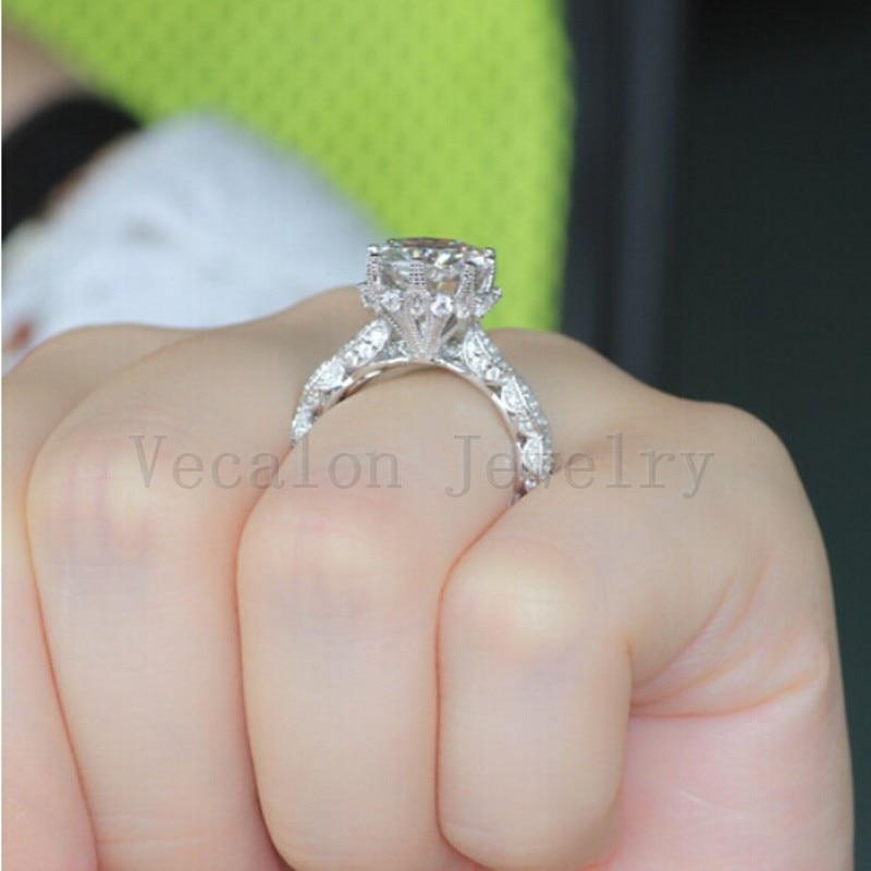Vecalon 2016 Vintage Engagement Ehering Set für Frauen 3ct AAAAA - Modeschmuck - Foto 6