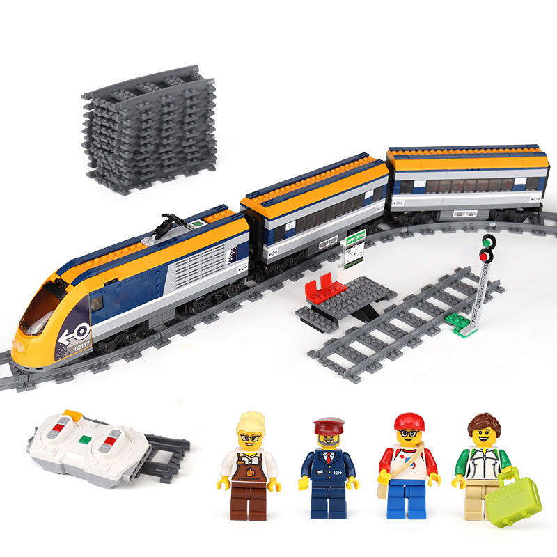 02117 City Train Compatible With 60197 Passenger Train With Motor Set Building Blocks Bricks Kids Toys