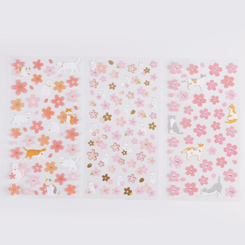 1 Sheet Cherry Sakura Shiba Gilding Bullet Journal Decorative Stationery Stickers Scrapbooking DIY Diary Album Stick