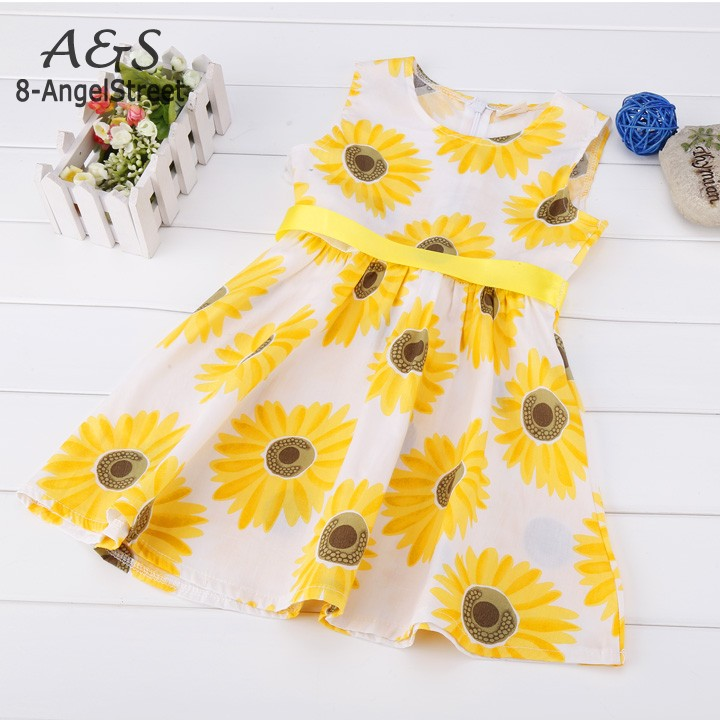 Summer Baby Kids Dresses for Girls  Girl Clothes Princess Party Wedding Dress Sleeveless Flower Printed Children Clothing baby girls summer cotton princess top quality kids sleeveless dress children wedding party clothes girl christmas prom dress