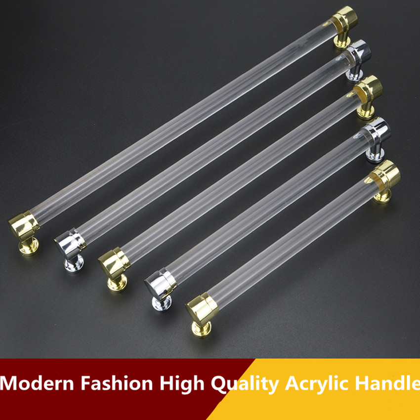 96 128 160mm 224 256mm modern fashion Transparent acrylic kitchen cabinet wardrobe door handle silver gold cupboard drawer pull