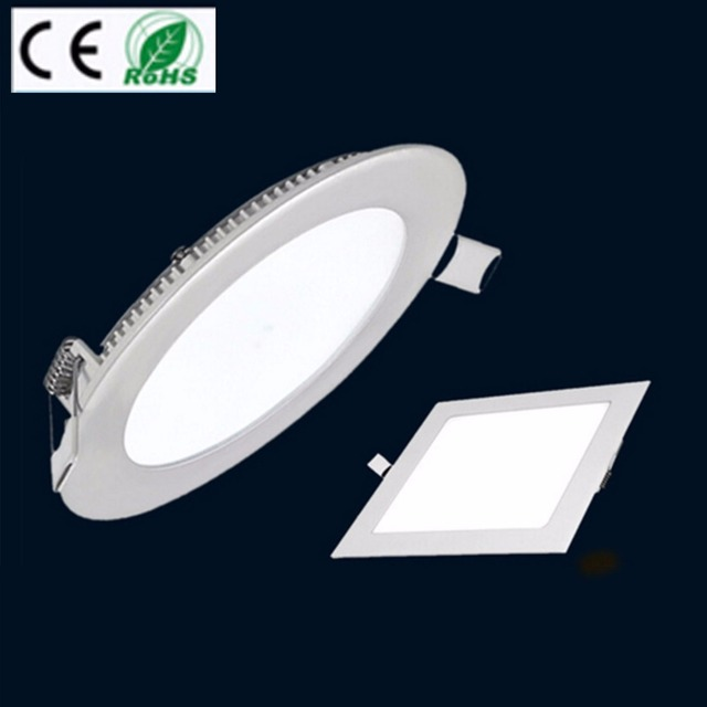 Ultra Thin Led Dimmable AC110V Epistar Recessed LED Panel Light 3W 6W 9W 12W 15W 18W Ceiling DownLights Square&Round 4PCS/Pack