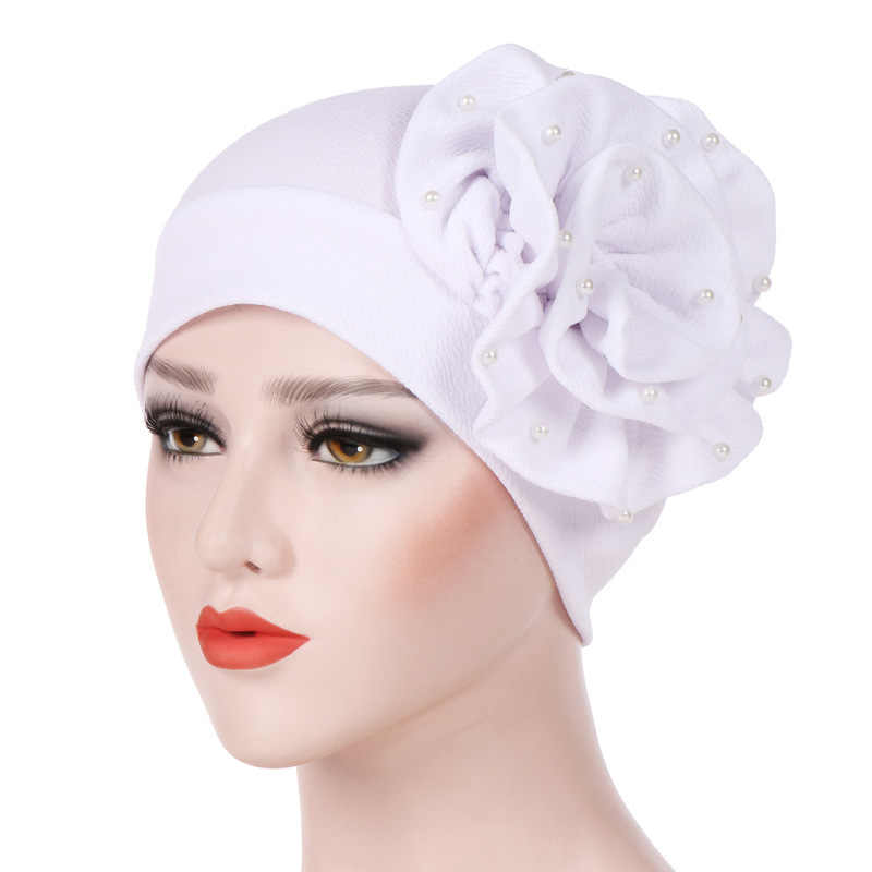 Helisopus Fashion New Women Pure Color Big Flower Turban Beading Hat Women's Elastic Hijabs Scarf Muslim Hair Accessories
