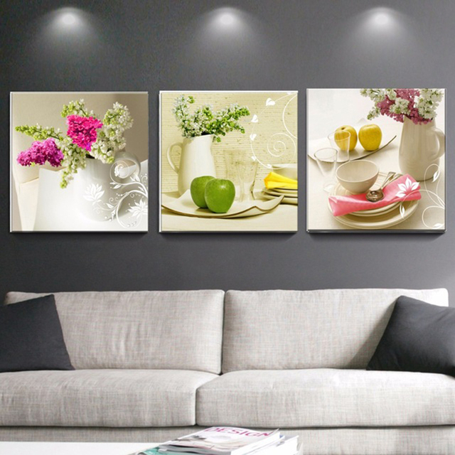 3 pcs canvas paintings for kitchen fruit wall decor modern flowers canvas art wall decorative pictures