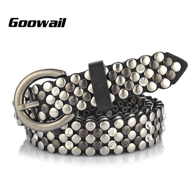 Goowail 2019 באיכות גבוהה מסמרת בציר יוקרה חגורות לנשים פאנק רוק בעבודת יד יהלומי היפ הופ מותניים חגורה לנשים ג ינס
