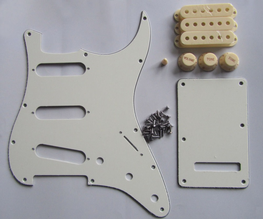 KAISH Ivory/Parchment ST  SSS Pickguard with Aged White Pickup Covers Knobs Tip kaish 50mm pole spacing st guitar single coil pickup covers chrome