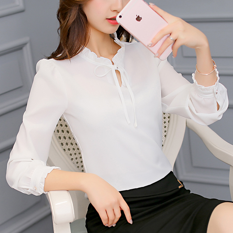 New 2019 Spring Autumn Blouse Top Women Long Sleeve Bow Cute Shirts Fashion Leisure Shirt Slim Office Ladies White Tops Blusa