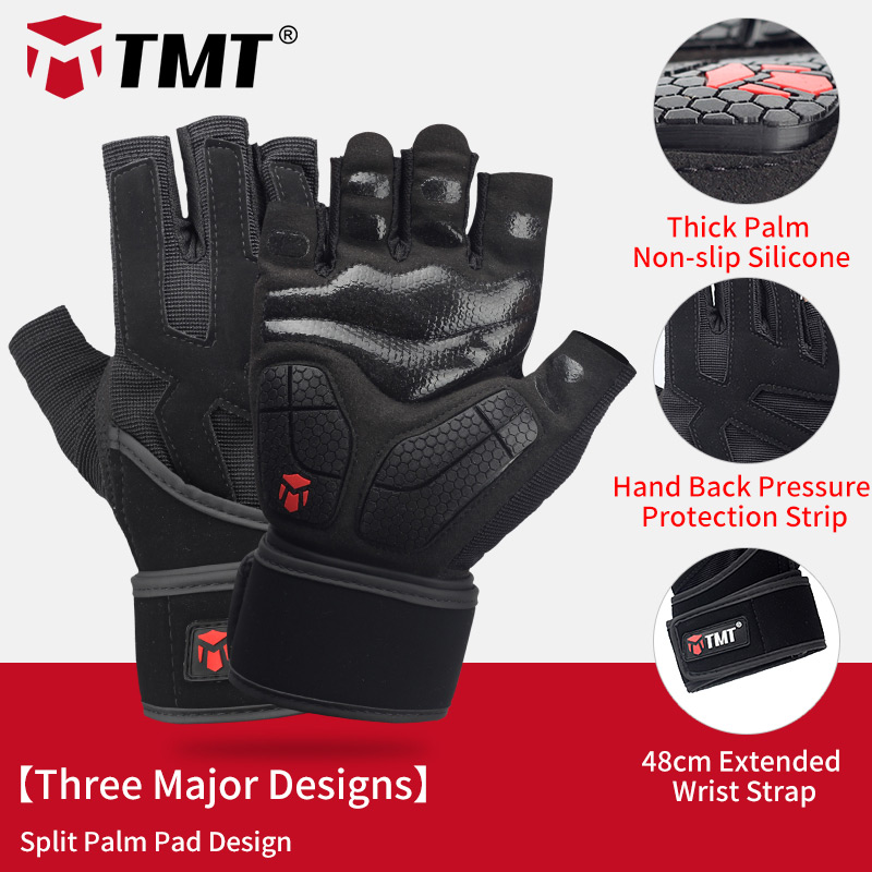 TMT Gym Gloves Crossfit Dumbbell Sports Weight Lifting Gloves Breathable Anti-Slip Gasket For Exercise Fitness Lose Weight Man