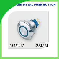 28mm metal push button LED waterproof ring illuminated flat Car Boat DIY with illuminated power self locking