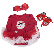 Child Ladies 3PCS Christmas outfit Santa Claus tutu gown Bodysuit+Headband+Leg Hotter+Sneakers Toddler/Toddler Clothes
