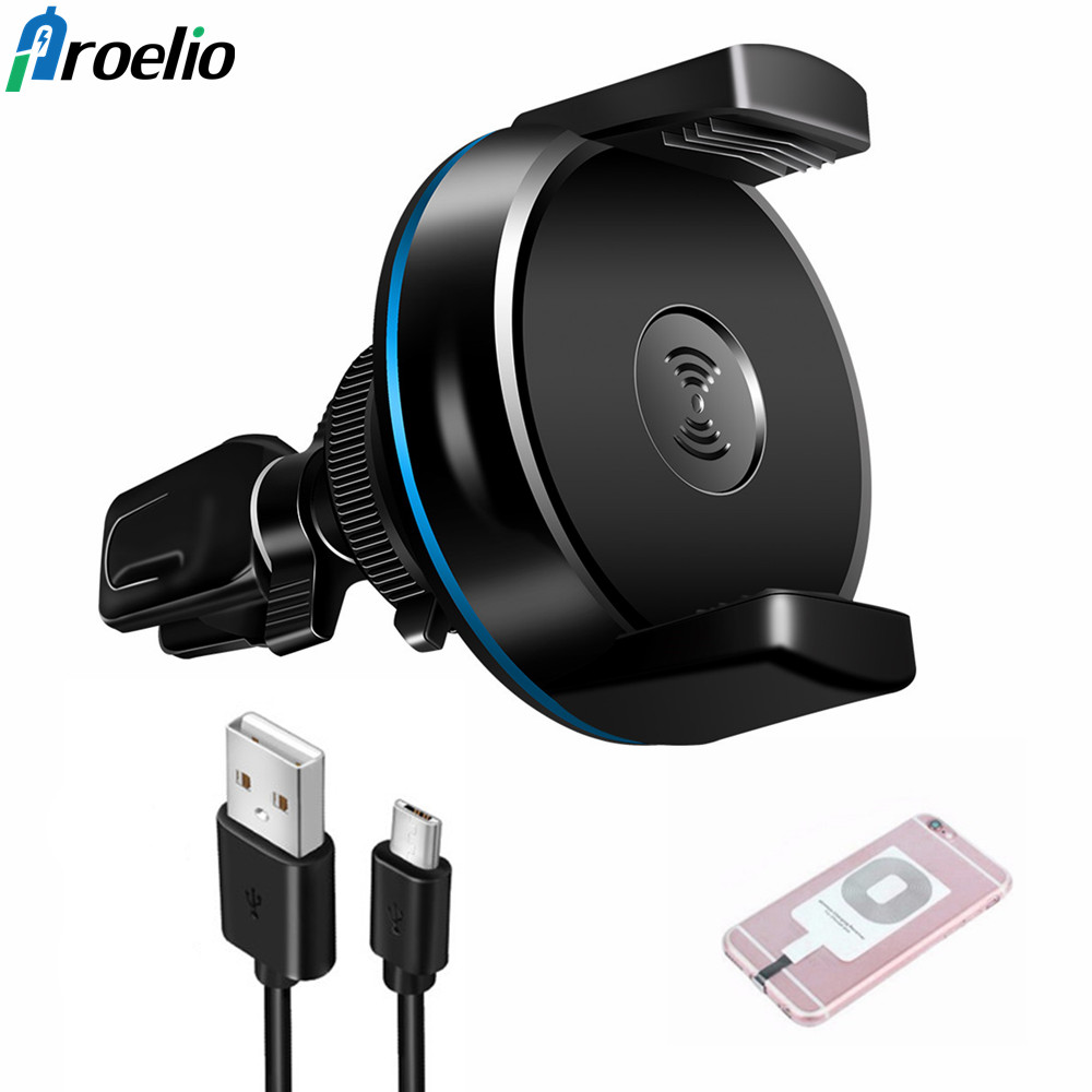 Proelio Wireless Car Charger Phone Holder for iPhone 8 X for Samsung Galaxy S6 S7 S8 QI Air Vent Stand 5V/1A Charging Receiver