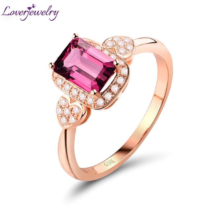 Přírodní Emerald Cut Tourmaline Snubní prsteny Solid 18 K Rose Gold Diamond Fine šperky pro ženy vánoční dárek