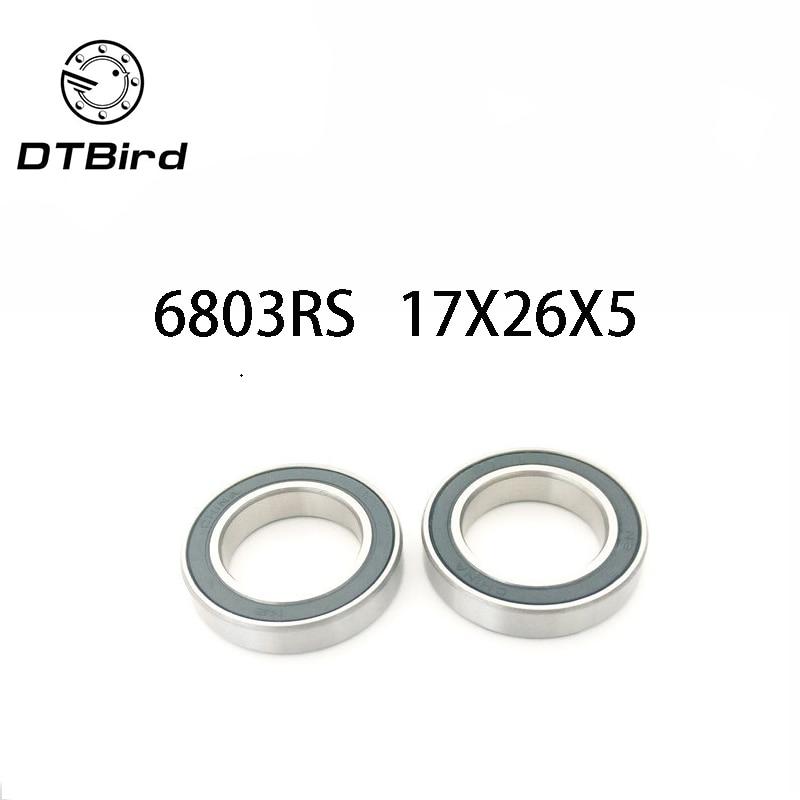 Metal Rubber Ball Bearing Bearings BLACK 6803RS 5 PCS 17x26x5 mm 6803-2RS