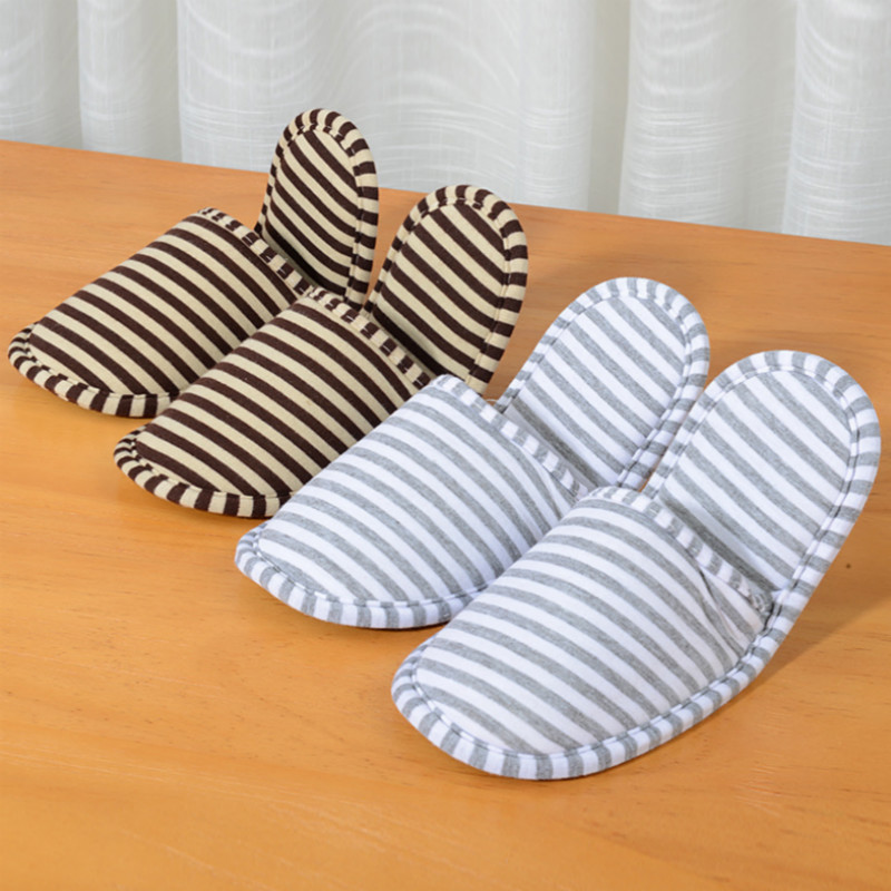 1 Pair Striped Slippers Travel Airplane Portable Foldable Cotton Cloth Men Women Slipper Travel Accessories